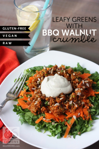 Leafy Greens with BBQ Walnut Crumble (raw, vegan, gluten free)  86lemons.com
