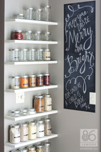 Open Pantry Shelves and chalkboard paint   86lemons.com