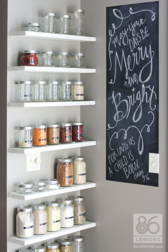 Open Shelf Pantry Storage: Detox Week 4 + DIY Open Pantry Shelves