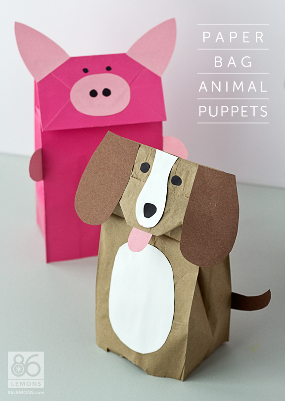 Test report diy paper bag animal puppets 86 lemons for Brown paper bag crafts for preschoolers