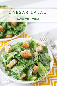 Caesar Salad with Homemade Croutons #vegan #glutenfree #salad 86lemons.com