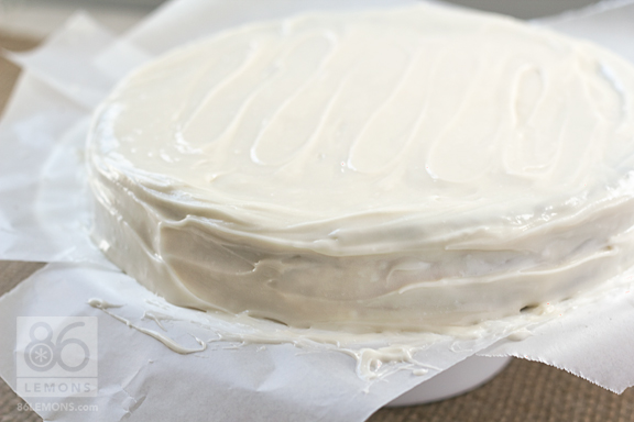 Cake Decorating Tip:  use pieces of wax paper tucked under the cake to prevent frosting from getting on the plate or cake stand. When finished decorating, gently remove each piece.  86lemons.com