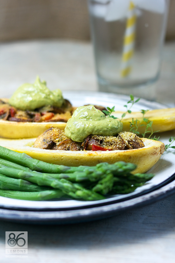 Stuffed Summer Squash #vegan #glutenfree #recipe #summer