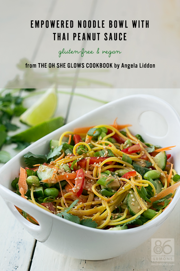 Empowered Noodle Bowl with Thai Peanut Sauce (vegan, gluten-free recipe)