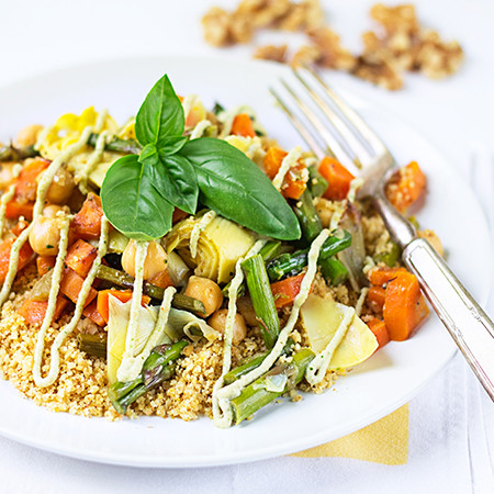 Veggie Walnut Couscous with Lemon Basil Cream (vegan, gluten-free)