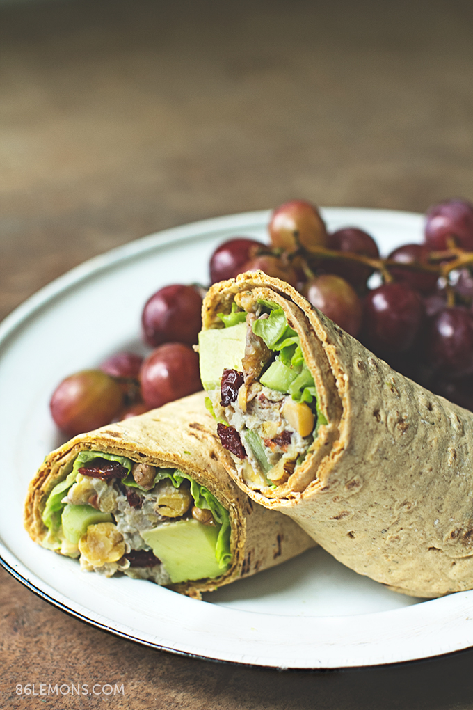 Cherry Chickpea Salad Wrap with creamy cashew dressing  #vegan #glutenfree (6)