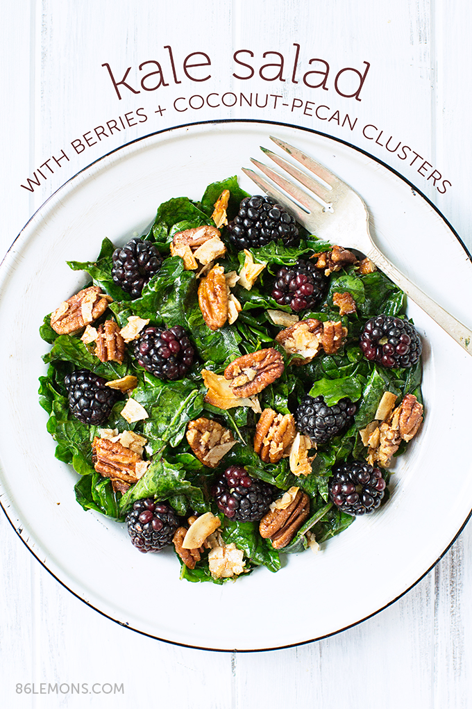 Kale Salad with Blackberries and Toasted Coconut-Pecan Clusters #vegan #glutenfree (3)
