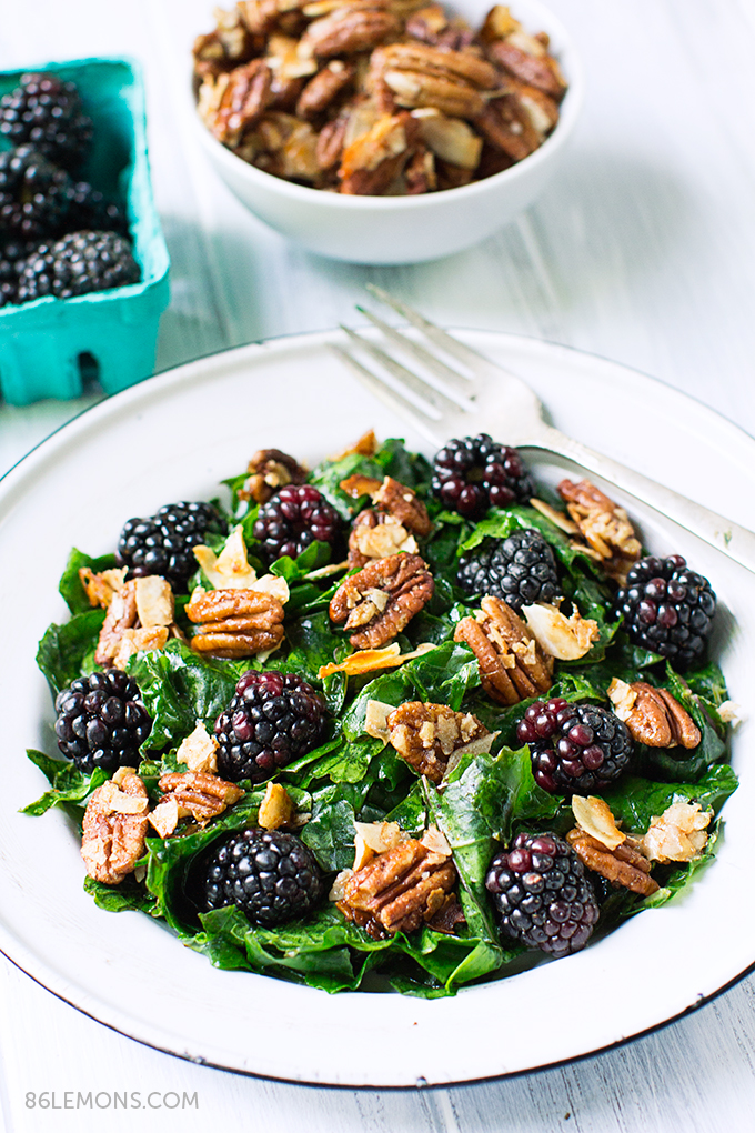 Kale Salad with Blackberries and Toasted Coconut-Pecan Clusters #vegan #glutenfree (5)