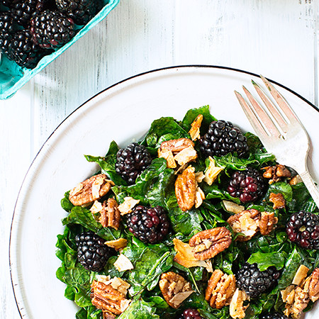 Kale Salad with Blackberries and Toasted Coconut-Pecan Clusters #vegan #glutenfree (F)